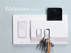 i love finding new projects on kickstarter. here's a neat one! it's a light switch with a built in key holder and mail/phone/what have you holder. nifty!