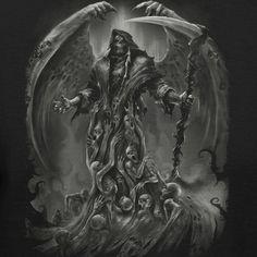 Grim Reaper Soul Cloak Fashion T-shirt Grim Reaper Art, Grim Reaper Tattoo, Demon Tattoo, Arte Horror, Horror Art, Angel Of Death Tattoo, Reaper Drawing, Totenkopf Tattoos, Monsters