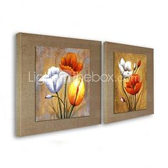 pintura al óleo moderna conjunto resumen de flores de 2 pintado a mano de lino natural con el marco de estirado 2017 - $98.99