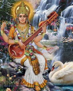 A beautiful art print of Saraswati, goddess of knowledge and the consort of Brahma
