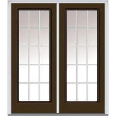Milliken Millwork 74 in. x 81.75 in. Classic Clear Glass GBG Full Lite Painted Fiberglass Smooth Exterior Double Door, Brown