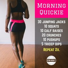 "Try my ""Morning Quickie"", a short, full body home workout to get that heart pumpin' in the AM.  #gymhooky #fitness #exercise #workout #homeworkout #loseweight #workoutroutine #cardioworkout"