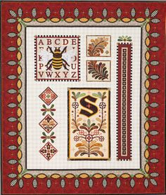 "B.S. I Love You by JANET STONE, First Place, A World of Beauty.  The sign posted with the quilt reads, ""This quilt was made for my husband who encourages me to quilt because it keeps me quiet! It is the ninth quilt in my alphabet series."""