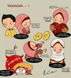 Selalu yakin :) Islamic Qoutes, Muslim Quotes, Prayer Verses, Quran Verses, Islam Religion, Islam Muslim, Islamic Cartoon, Anime Muslim, Allah Quotes