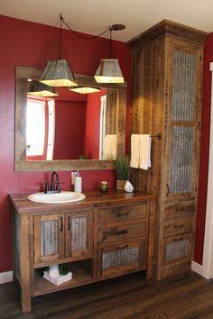 Rustic Bathroom Designs, Rustic Bathroom Vanities, Rustic Bathroom Decor, Rustic Decor, Bathroom Ideas, Rustic Vanity, Barn Bathroom, Small Rustic Bathrooms, Log Home Bathrooms