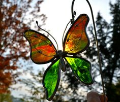Red and Green Streaked Stained Glass Butterfly by dortdesigns, $13.25