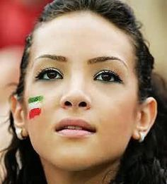 https://flic.kr/p/aveMcC | Iranian Beauty | The Green White Red !  Beautiful Iranian Girl with Iranian Flag on her chick  Really CuTe :)