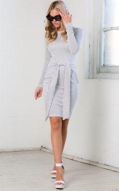 Cross Knot It Dress in White Stripe | SHOWPO Fashion Online Shopping