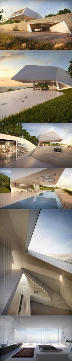Villa F / Rhodes, Greece, by Peter Thomas Hornung, Elsa Katharina Jacobi and Jan Escher Architecture Design, Futuristic Architecture, Residential Architecture, Amazing Architecture, Contemporary Architecture, Amazing Buildings, Modern Buildings, Modern House Design, Exterior Design