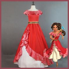 Selling Elena of Avalor Princess Elena cosplay costume Red Embroidery Elena dress Halloween costumes for adult women party dress