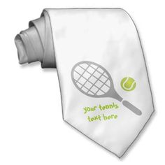Tennis racket and ball custom neckwear. #tennis, #ball, #racket, #tennisgifts, #neckties  See more tennis gifts here http://www.zazzle.com/sports_gifts/products/cg-196181571095549222?rf=238228936251904937&CMPN=zBookmarklet