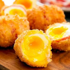 Fried Bacon Wrapped Eggs. A delicious and fun appetizer perfect for game day.