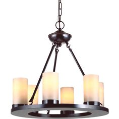 Create an old-world feel with this elegant Sea Gull Lighting chandelier. With the appearance of real candles, the round shades cast a soft glow throughout the room, and the light comes with 10 feet of chain, so you can adjust the height.