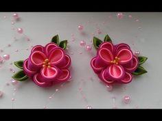Как сделать цветочки из атласной ленты 5 см. Каанзаши. Мастер класс - YouTube