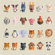 Большой набор из нарисованных животных на плоскости в векторе
