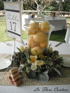 Lemons Wedding Centerpiece  w/ herbs & blue hydrangeas at base?