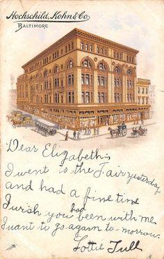 Baltimore Maryland Hochschild Kohn Co Department Store Artist Drawn 1906   eBay