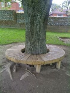 Our Radial Tree Seats Are Beautifully Designed To Compliment Their Natural Surroundings, Made With Careful Craftsmanship And Using Only The Finest Sustainable Oak, Your Radial Tree Seat Will Be A Stunning Yet In Keeping Feature Of Any Garden Setting. Banco Exterior, Mesa Exterior, Bench Around Trees, Tree Deck, Sensory Garden, Natural Playground, Woodland Garden, Garden Seating, Garden Planning