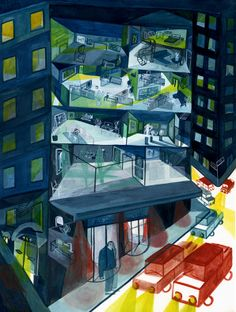 French-born Montreal-based illustrator Mugluck makes phenomenally stylised watercolour compositions that are blistering with fast line work and strong, decisive mark making. Illustrations, Illustration Art, Watercolor City, Watercolour, Montreal Ville, Mark Making, French Artists, Urban Landscape, Architecture