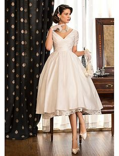 A-Line V Neck Tea Length Taffeta Made-To-Measure Wedding Dresses with Lace / Criss Cross by LAN TING BRIDE® / Little White Dress / Little White Dress