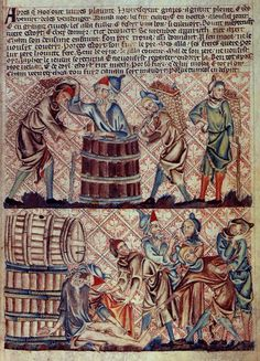 """""""Drunkenness of Noah"""", in the Holkham Bible, ca.1320-30, British Library MS 47682"""