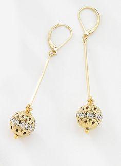 e6a0ea5cdab1 Precioso par de aretes largos con colgantes de barra y esferas con piedras  de cristal incrustrado
