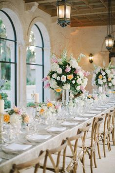Filled with soft pastel colors and magnificent views, Brianna and Jeff's dream for a fairytale wedding came to life. Check out this beautiful Palm Beach Wedding. Simple Weddings, Romantic Weddings, Bohemian Weddings, Romantic Wedding Centerpieces, Wedding Decoration, Diy Wedding, Wedding Ideas, Wedding Reception, Wedding Tables