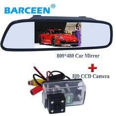 """placement sunvisor 4.3"""" car screen mirror +ccd hd image auto car parking  camera wire for Peugeot 206/ 207/407/307(Sedan)/307SM"""