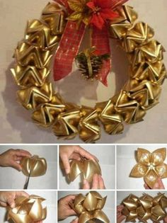 Way to recycle! Plastic bottle bottoms, spray paint and vwalaaaaa you have a wreath