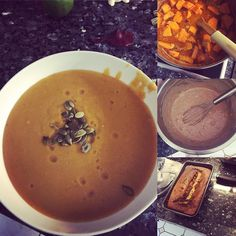 Tonight's been all about making yummy things! Dinner of red Thai sweet potato and lentil soup from #readysteadyglow and a treat for the weekend of Banana and Cinnamon loaf form #gettheglow. #nomnomnom #yummy #eatclean #healthyeating thank you @madeleine_shaw_ for the amazing recipes! by crm1985