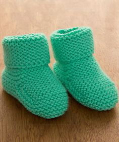 Keep toes warm in boot-style knit footwear that will stay on baby's feet. It only takes one ball of this highest quality easy-care yarn that has been tested for harmful substances.