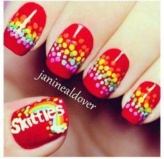 skittles taste the rainbow nails Fancy Nails, Love Nails, Diy Nails, Fabulous Nails, Gorgeous Nails, Pretty Nails, Cute Nail Art, Cute Acrylic Nails, Nail Art 2015