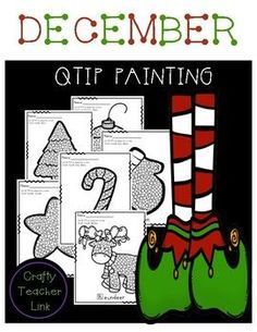 December QTIP Painting Art: I have created a December Christmas QTIP Painting! Great for Fine Motor Development!