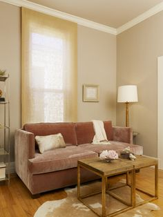 Small living space in muted tones - rose blush velvet sofa, camel window treatment, warm greige walls, brass and white accents