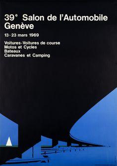 Geneva Car-show 1969 Course Moto, Automobile, Graphic Art, Graphic Design, Original Vintage, Europe, Camping, Retro Futurism, Courses