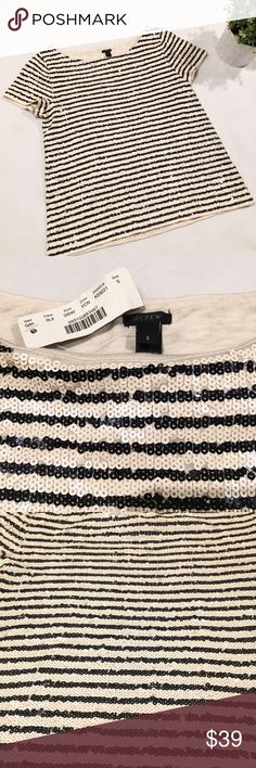 J. Crew Black & Ivory Sequin Striped Shirt Black and Ivory sequin striped short-sleeved shirt by J. Crew.  Size Small.  New with Tags! J. Crew Tops Blouses