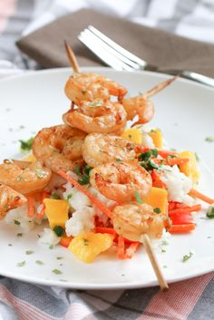 Mango Rice Salad with Grilled Shrimp | foodnfocus.com