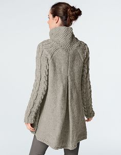This cardigan, knit using Alaska yarn, is perfect for keeping snug this winter. It is knitted in moss stitch, stocking stitch, reverse stocking stitch and cable stitch using needles and two cable needles. Cardigan Pattern, Jacket Pattern, Knit Cardigan, Cable Knitting, Knit Jacket, Knit Or Crochet, Knitting Designs, Pulls, Knitting Patterns