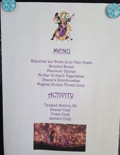 Disney family Movie Night- Tangled Menu