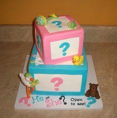 Gender Reveal Baby Block Cake — Baby Shower