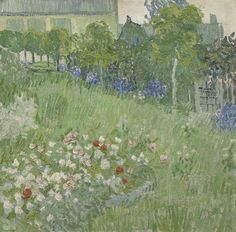 Daubigny's Garden, 1890, Vincent van Gogh, Van Gogh Museum, Amsterdam (Vincent van Gogh Foundation) - he didn't have a canvas at hand and so made this on a tea towel