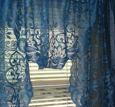 Vivid Blue Scalloped Lace Curtain Valance 58 x 33 Swag Curtains, Blue Curtains, Vintage Curtains, Shabby Chic Curtains, Lace Valances, Window Coverings, Window Treatments, Scalloped Lace, Vintage Lace