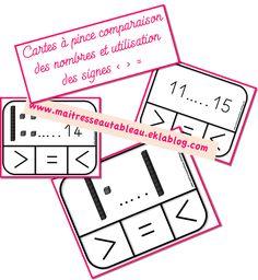 Cartes à pince comparaison de nombres et signes < > = - Maitresse, au tableau !