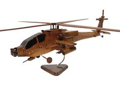 AH-64 AH-64D Apache Army Attack Helicopter Wood Wooden Mahogany Model by MilitaryMahogany on Etsy