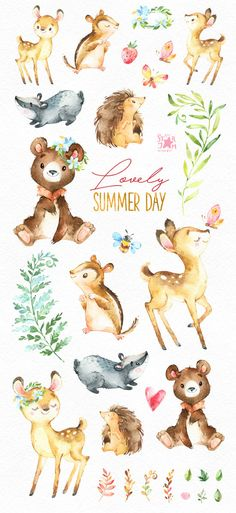 This lovely animals set includes bear, hedgehog, chipmunk, roe, badger and more. It is just what you needed for the perfect invitations, craft projects, paper products, party decorations, printable, greetings cards, posters, stationery, scrapbooking, stickers, t-shirts, baby clothes, web designs and much more.  :::::: DETAILS ::::::  This collection includes - 30 Images in separate PNG files, transparent background, different size approx.: 12-2in (3600-600px)  300 dpi RGB  ::::: TERMS OF USE…