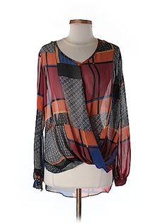 Bisou Bisou Women Long Sleeve Blouse Size XS