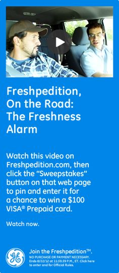 Freshpedition, On The Road: The Freshness Alarm - Watch this video on Freshpedition.com, then click the 'sweepstakes' button on that webpage to pin and enter it for a chance to win a $100 VISA® Prepaid card. Watch now. #GEfreshNV