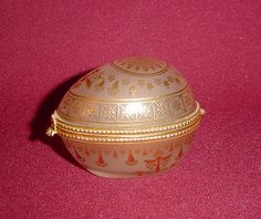 Estee Lauder Frosted Glass and Gold Keepsake Egg Perfume Trinket Box from alleycatlane on Ruby Lane