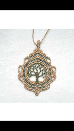 Ketten mittellang - macrame makramee kette charm Lebensbaum bronze - ein Designerstück von MarvellousMa bei DaWanda