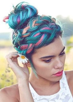 Teal blue pink orange dyed braided hairstyle